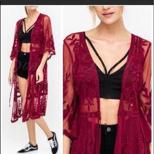 Lush Sheer Lace Tie Kimono